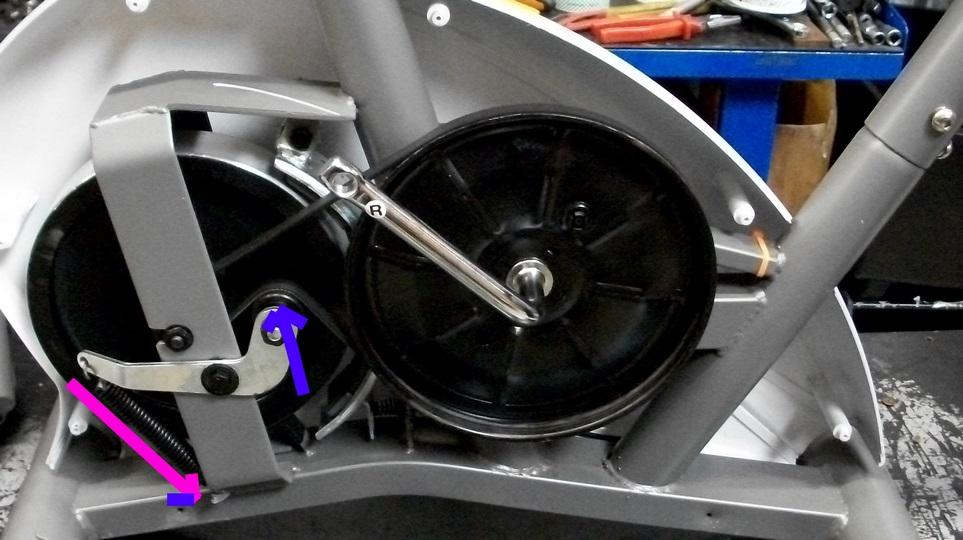 Esempio tendicinghia con rullino per cyclette
